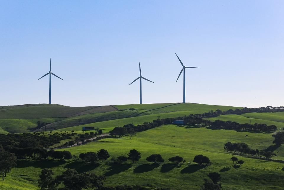 Wind turbines on a hill in the distance