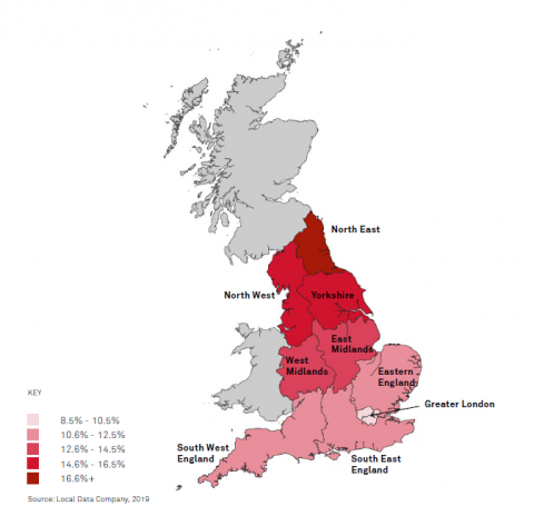 Map of great britain showing the worst effected areas for empty shops