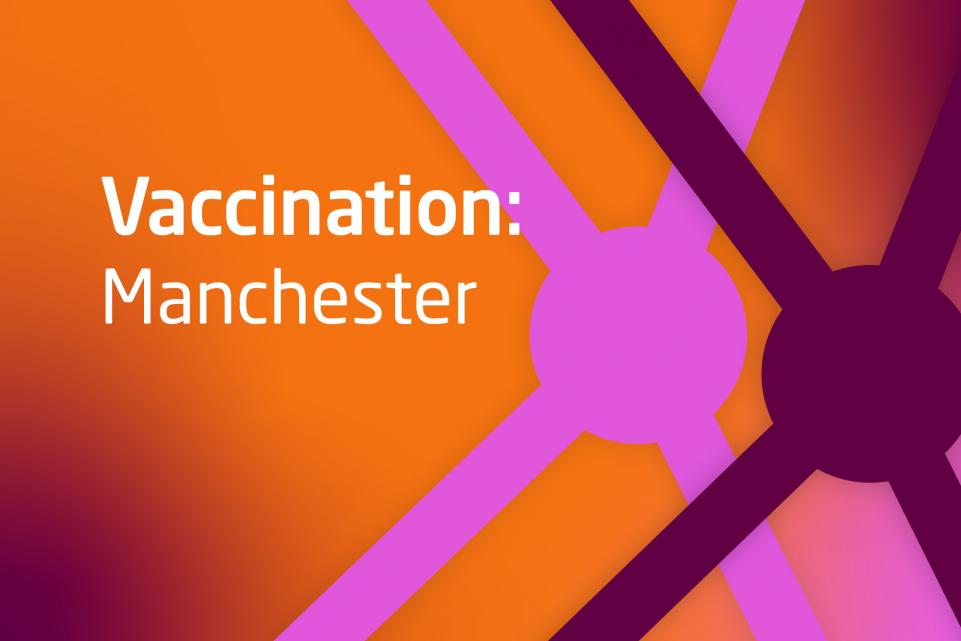 Graphic with COVID design and text vaccination Manchester