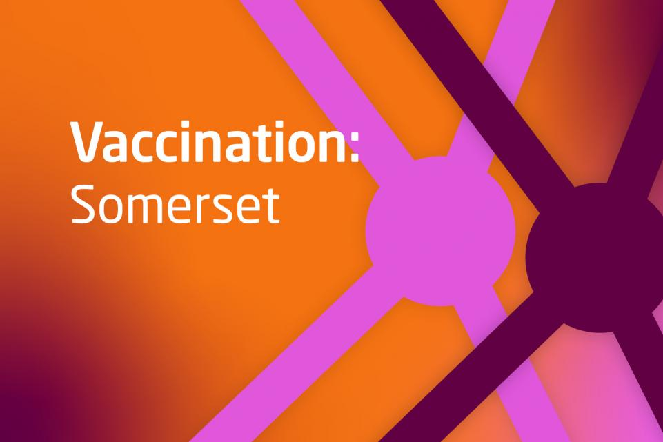 Graphic with COVID symbols and text vaccination Somerset